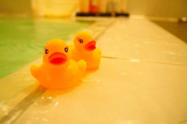 お風呂場でチャレンジ!
